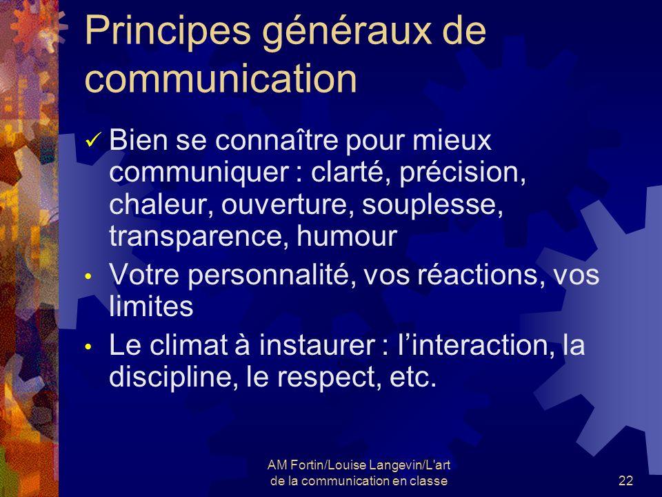 AM Fortin/Louise Langevin/L'art de la communication en classe22 Principes généraux de communication Bien se connaître pour mieux communiquer : clarté,