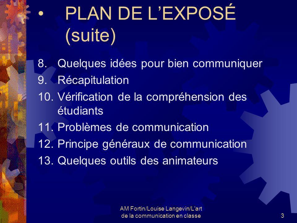 AM Fortin/Louise Langevin/L'art de la communication en classe3 PLAN DE LEXPOSÉ (suite) 8.Quelques idées pour bien communiquer 9.Récapitulation 10.Véri