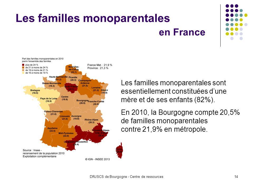 DRJSCS de Bourgogne - Centre de ressources14 Les familles monoparentales en France Les familles monoparentales sont essentiellement constituées dune mère et de ses enfants (82%).