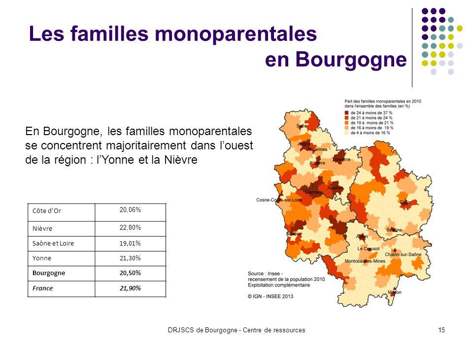 DRJSCS de Bourgogne - Centre de ressources15 Les familles monoparentales en Bourgogne Côte dOr 20,06% Nièvre 22,80% Saône et Loire19,01% Yonne21,30% Bourgogne20,50% France21,90% En Bourgogne, les familles monoparentales se concentrent majoritairement dans louest de la région : lYonne et la Nièvre