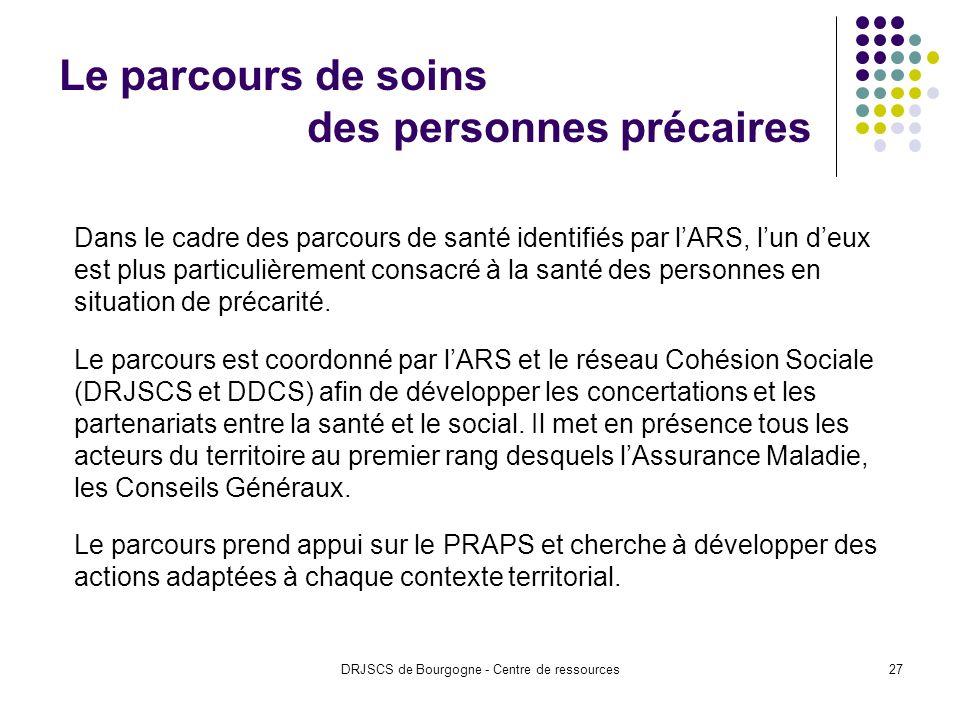 DRJSCS de Bourgogne - Centre de ressources27 Le parcours de soins des personnes précaires Dans le cadre des parcours de santé identifiés par lARS, lun deux est plus particulièrement consacré à la santé des personnes en situation de précarité.