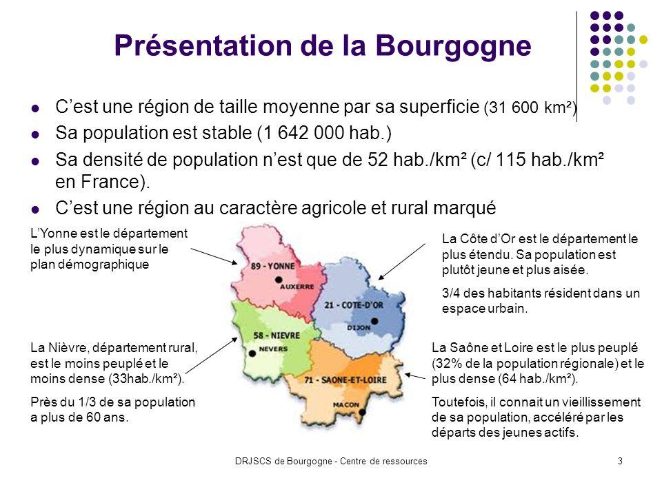 DRJSCS de Bourgogne - Centre de ressources3 Présentation de la Bourgogne Cest une région de taille moyenne par sa superficie (31 600 km²) Sa population est stable (1 642 000 hab.) Sa densité de population nest que de 52 hab./km² (c/ 115 hab./km² en France).