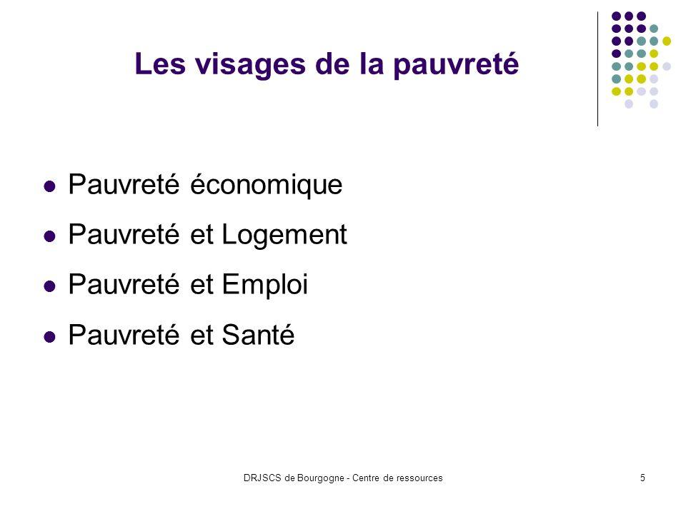 DRJSCS de Bourgogne - Centre de ressources5 Les visages de la pauvreté Pauvreté économique Pauvreté et Logement Pauvreté et Emploi Pauvreté et Santé