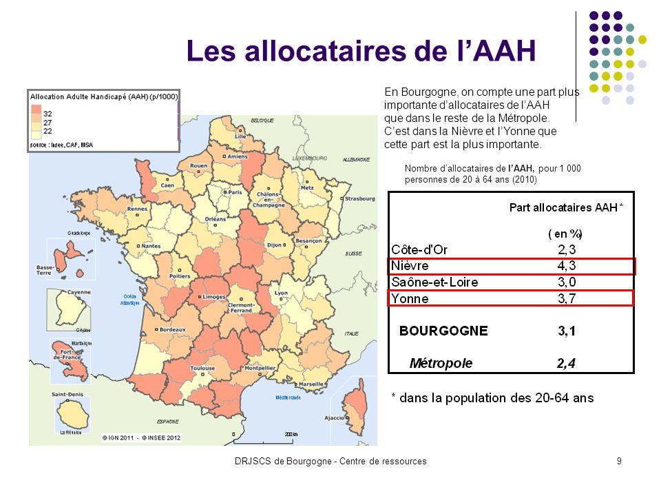 DRJSCS de Bourgogne - Centre de ressources9 Les allocataires de lAAH Nombre dallocataires de lAAH, pour 1 000 personnes de 20 à 64 ans (2010) En Bourgogne, on compte une part plus importante dallocataires de lAAH que dans le reste de la Métropole.
