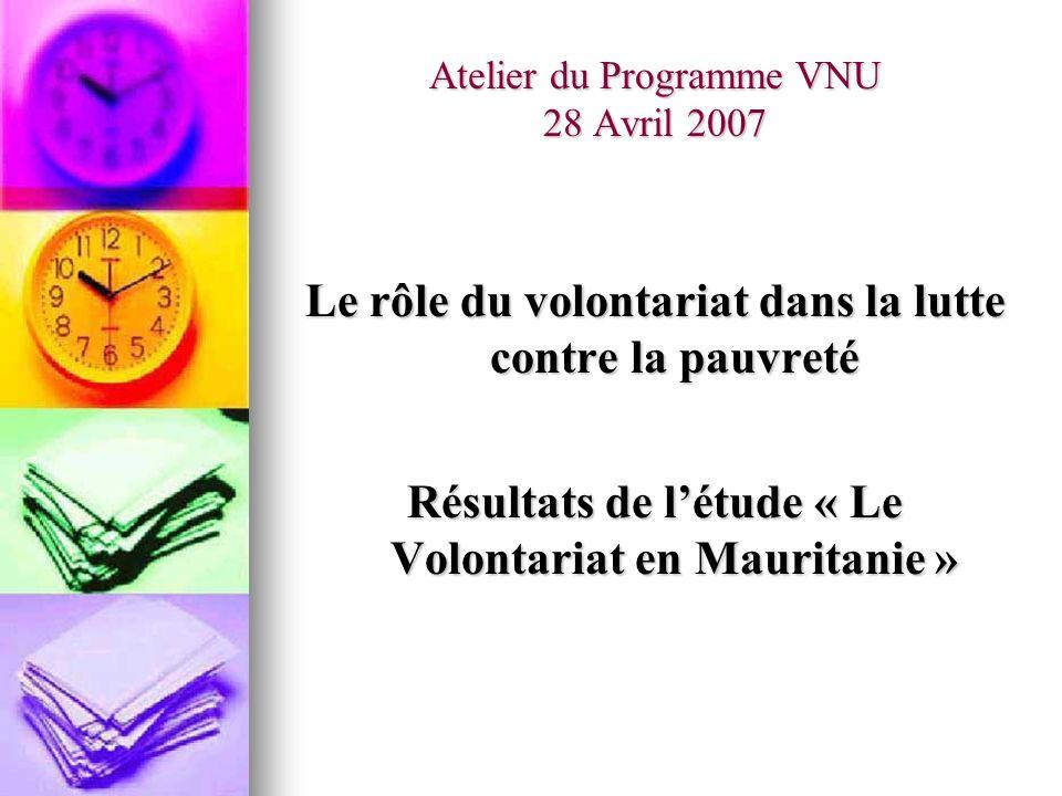 Atelier du Programme VNU 28 Avril 2007 Le rôle du volontariat dans la lutte contre la pauvreté Résultats de létude « Le Volontariat en Mauritanie »