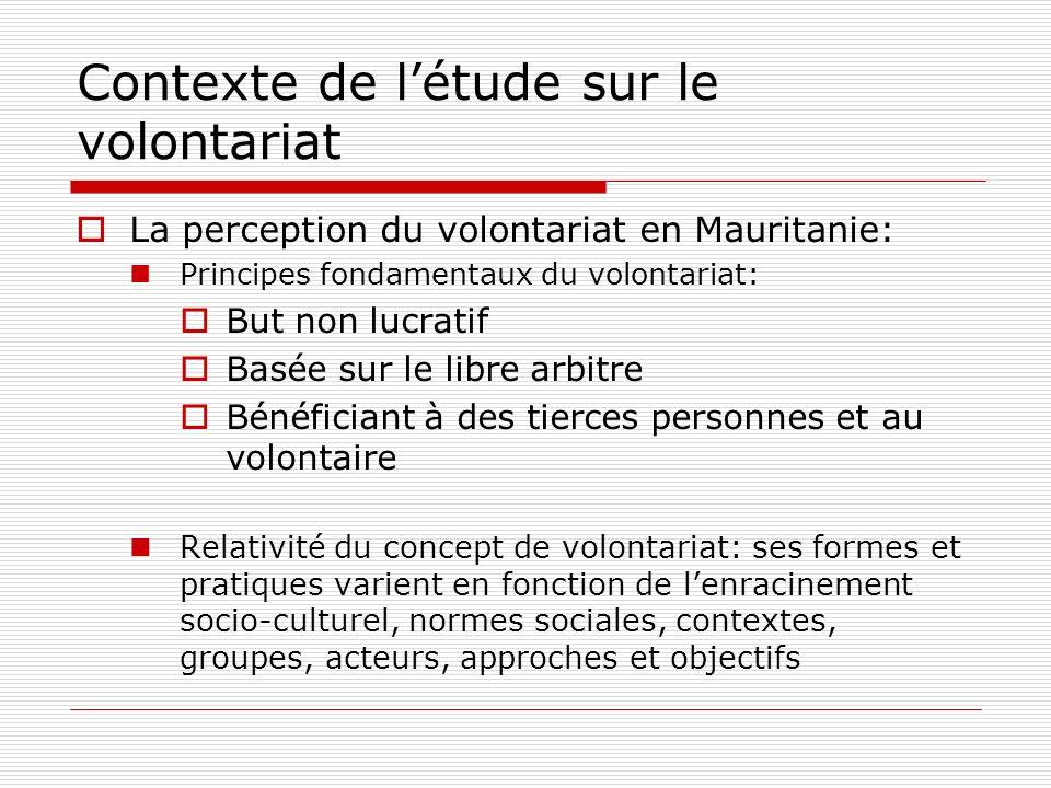 Contexte de létude sur le volontariat La perception du volontariat en Mauritanie: Principes fondamentaux du volontariat: But non lucratif Basée sur le libre arbitre Bénéficiant à des tierces personnes et au volontaire Relativité du concept de volontariat: ses formes et pratiques varient en fonction de lenracinement socio-culturel, normes sociales, contextes, groupes, acteurs, approches et objectifs
