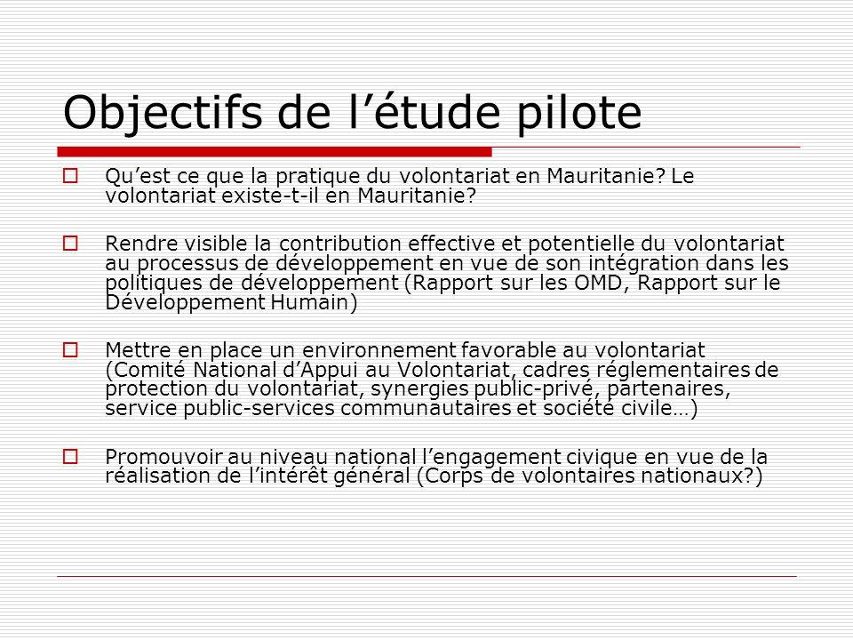 Objectifs de létude pilote Quest ce que la pratique du volontariat en Mauritanie.