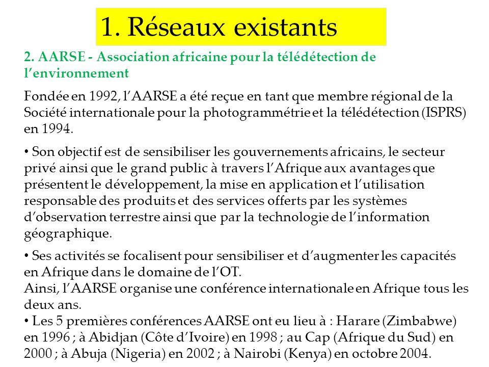 1. Réseaux existants 2. AARSE - Association africaine pour la télédétection de lenvironnement Fondée en 1992, lAARSE a été reçue en tant que membre ré