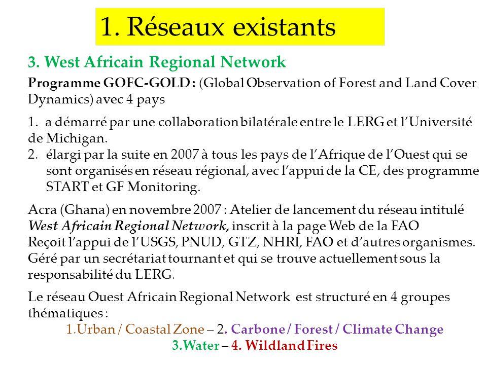 1. Réseaux existants Programme GOFC-GOLD : (Global Observation of Forest and Land Cover Dynamics) avec 4 pays 1. a démarré par une collaboration bilat