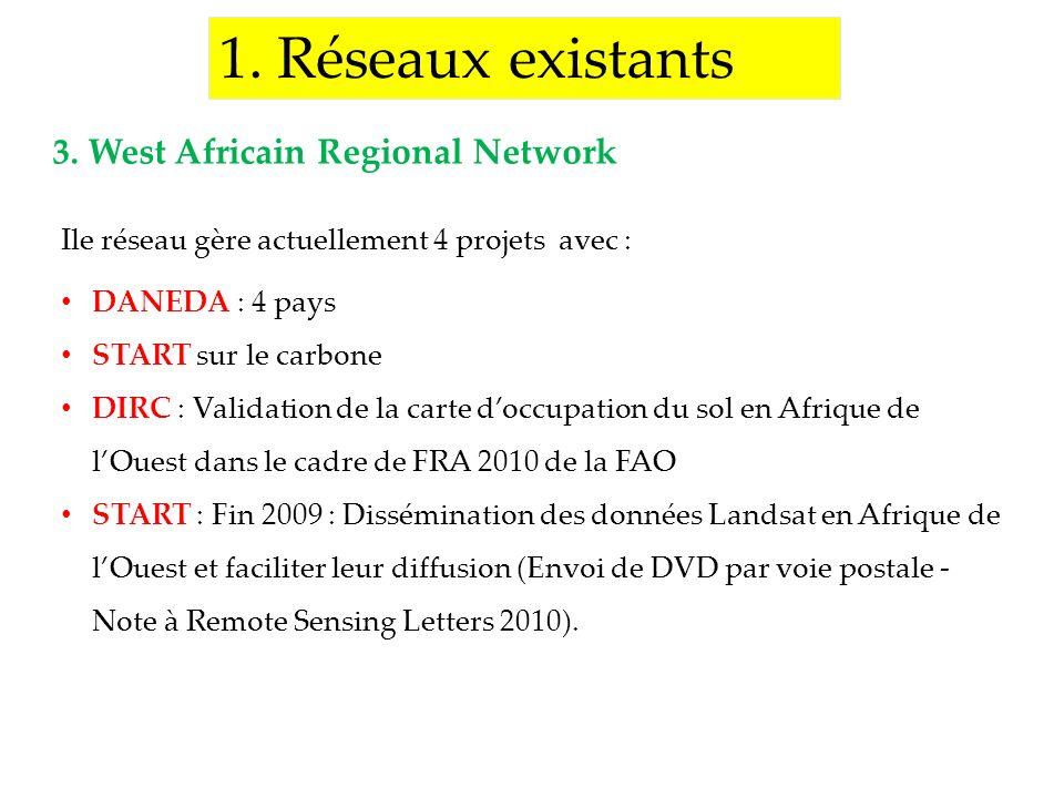 1. Réseaux existants Ile réseau gère actuellement 4 projets avec : DANEDA : 4 pays START sur le carbone DIRC : Validation de la carte doccupation du s