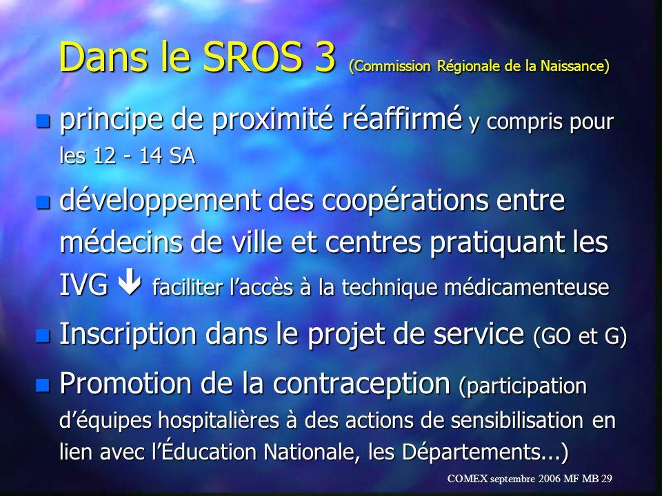 COMEX septembre 2006 MF MB 29 Dans le SROS 3 (Commission Régionale de la Naissance) n principe de proximité réaffirmé y compris pour les 12 - 14 SA n