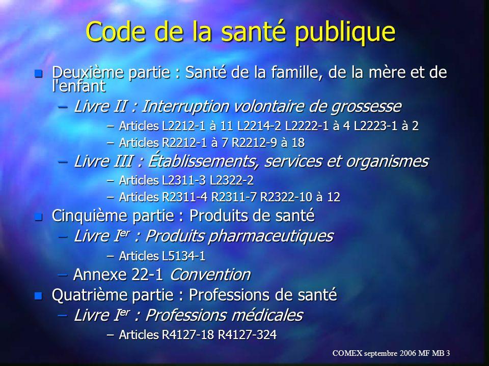 COMEX septembre 2006 MF MB 3 Code de la santé publique n Deuxième partie : Santé de la famille, de la mère et de l'enfant –Livre II : Interruption vol