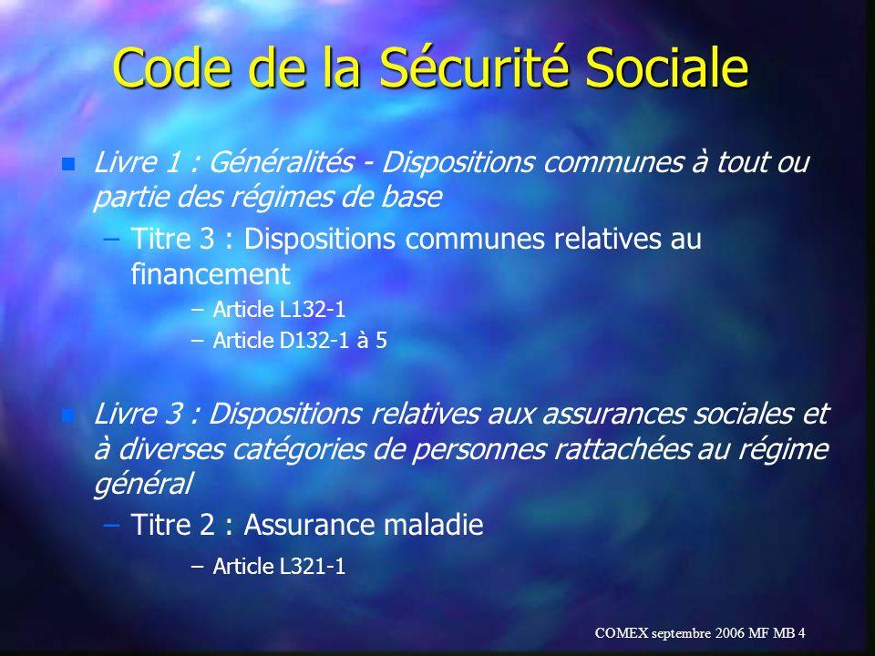 COMEX septembre 2006 MF MB 4 Code de la Sécurité Sociale n n Livre 1 : Généralités - Dispositions communes à tout ou partie des régimes de base – –Tit