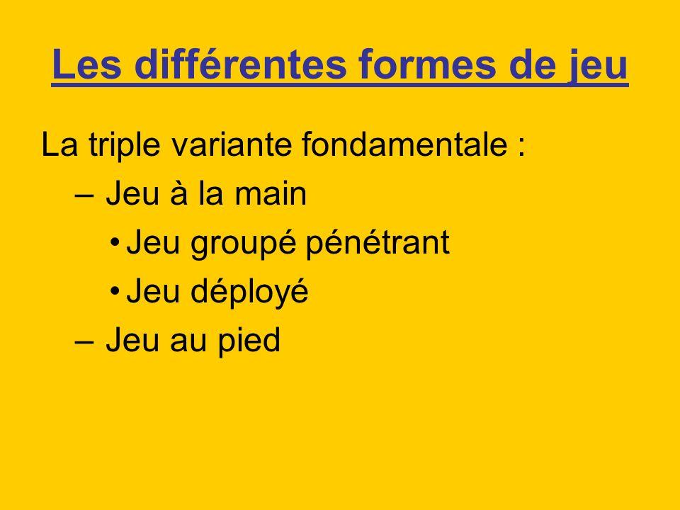 Les différentes formes de jeu La triple variante fondamentale : – Jeu à la main Jeu groupé pénétrant Jeu déployé – Jeu au pied