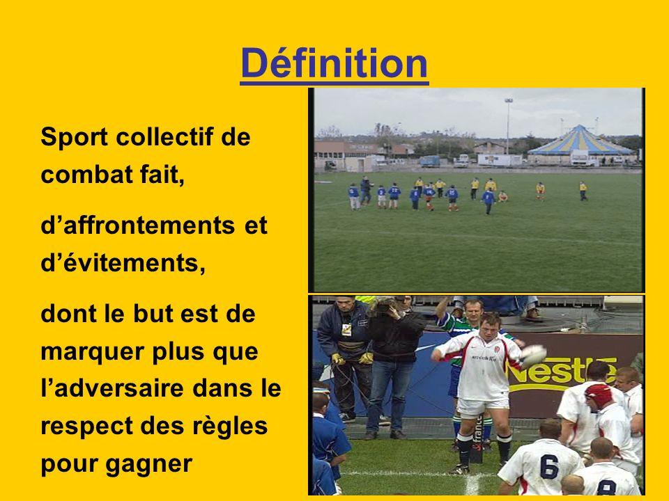 Définition Sport collectif de combat fait, daffrontements et dévitements, dont le but est de marquer plus que ladversaire dans le respect des règles p