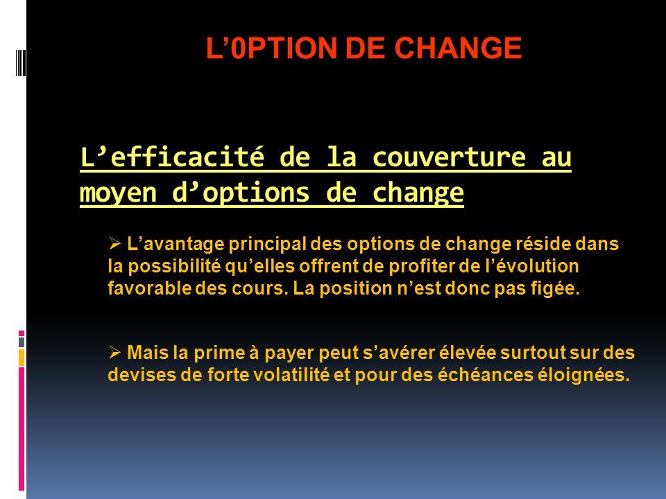 Lefficacité de la couverture au moyen doptions de change Lavantage principal des options de change réside dans la possibilité quelles offrent de profi