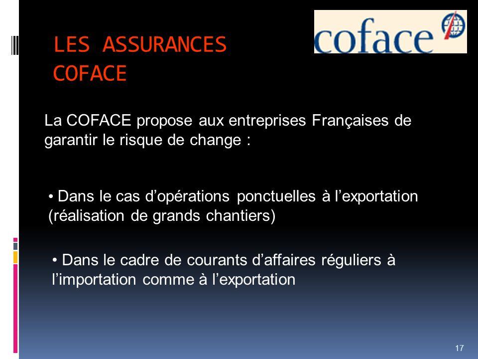 LES ASSURANCES COFACE 17 La COFACE propose aux entreprises Françaises de garantir le risque de change : Dans le cas dopérations ponctuelles à lexporta