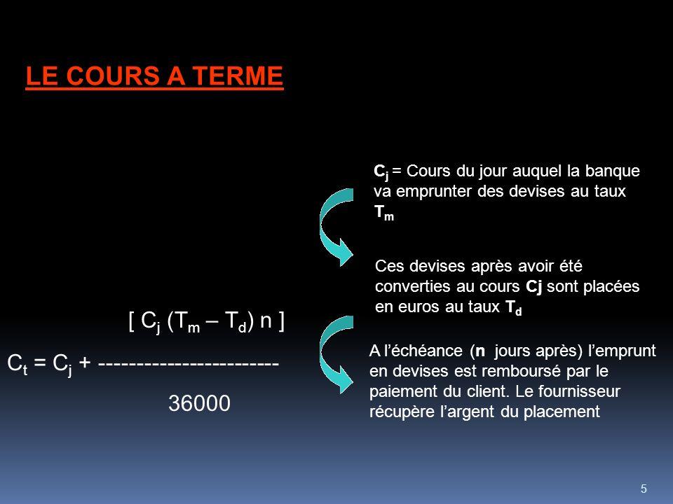 5 [ C j (T m – T d ) n ] C t = C j + ------------------------ 36000 LE COURS A TERME C j = Cours du jour auquel la banque va emprunter des devises au