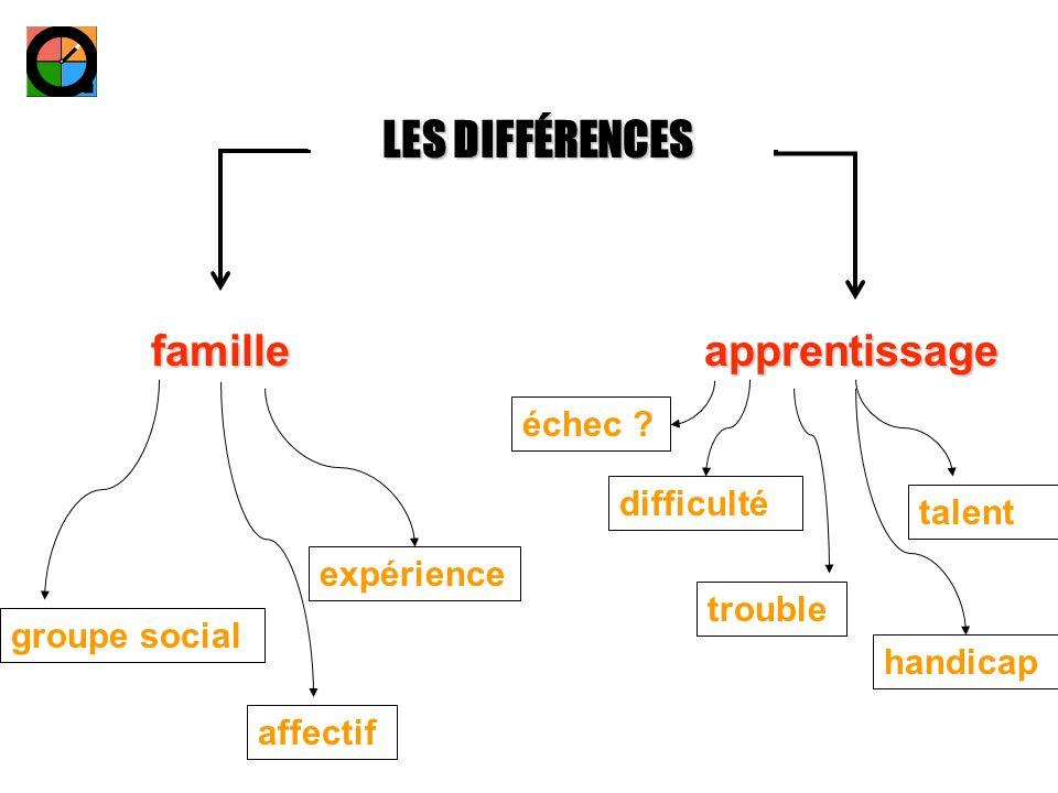LES DIFFÉRENCES familleapprentissage groupe social affectif expérience handicap trouble difficulté talent échec ?