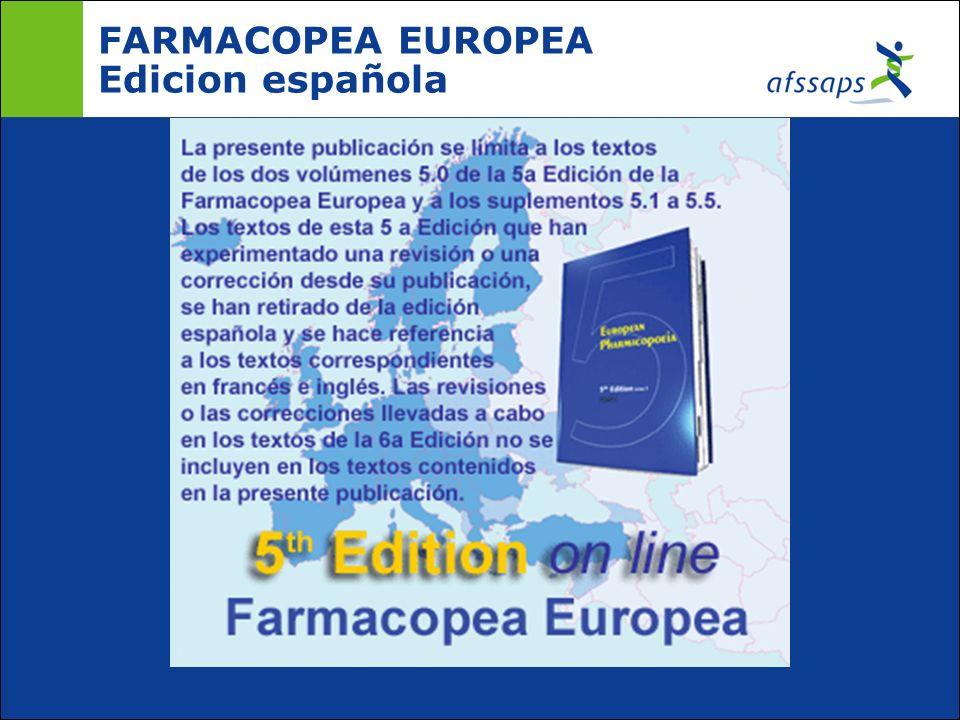 FARMACOPEA EUROPEA Edicion española