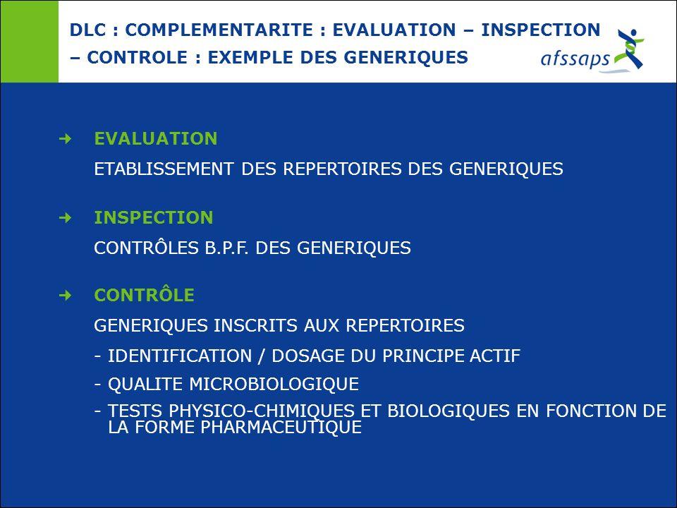 DLC : COMPLEMENTARITE : EVALUATION – INSPECTION – CONTROLE : EXEMPLE DES GENERIQUES EVALUATION ETABLISSEMENT DES REPERTOIRES DES GENERIQUES INSPECTION