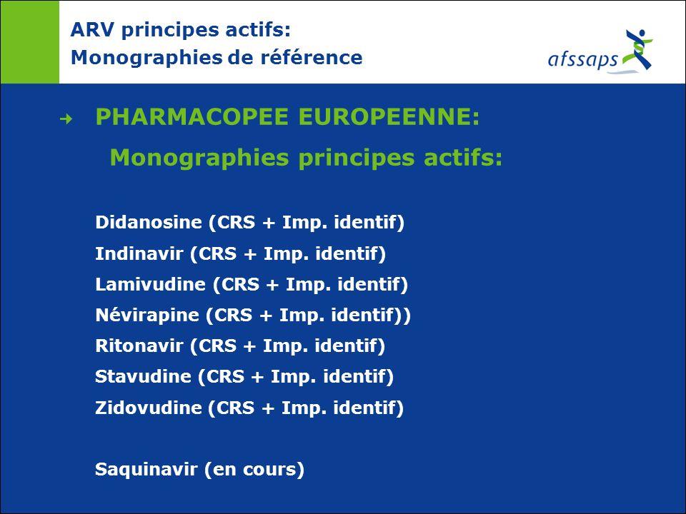 ARV principes actifs: Monographies de référence PHARMACOPEE EUROPEENNE: Monographies principes actifs: Didanosine (CRS + Imp. identif) Indinavir (CRS
