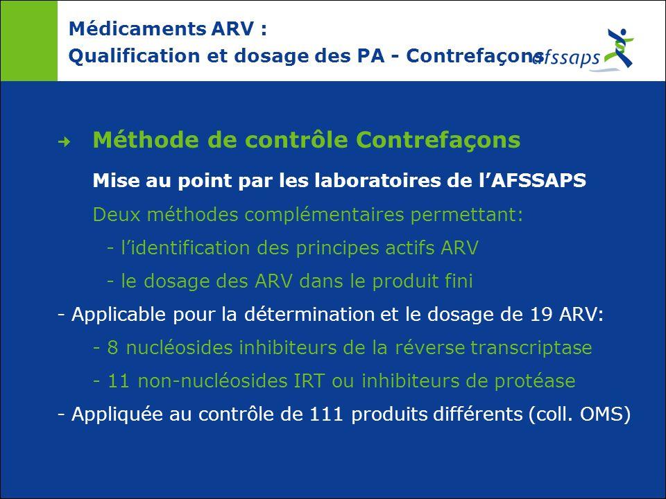 Médicaments ARV : Qualification et dosage des PA - Contrefaçons Méthode de contrôle Contrefaçons Mise au point par les laboratoires de lAFSSAPS Deux m