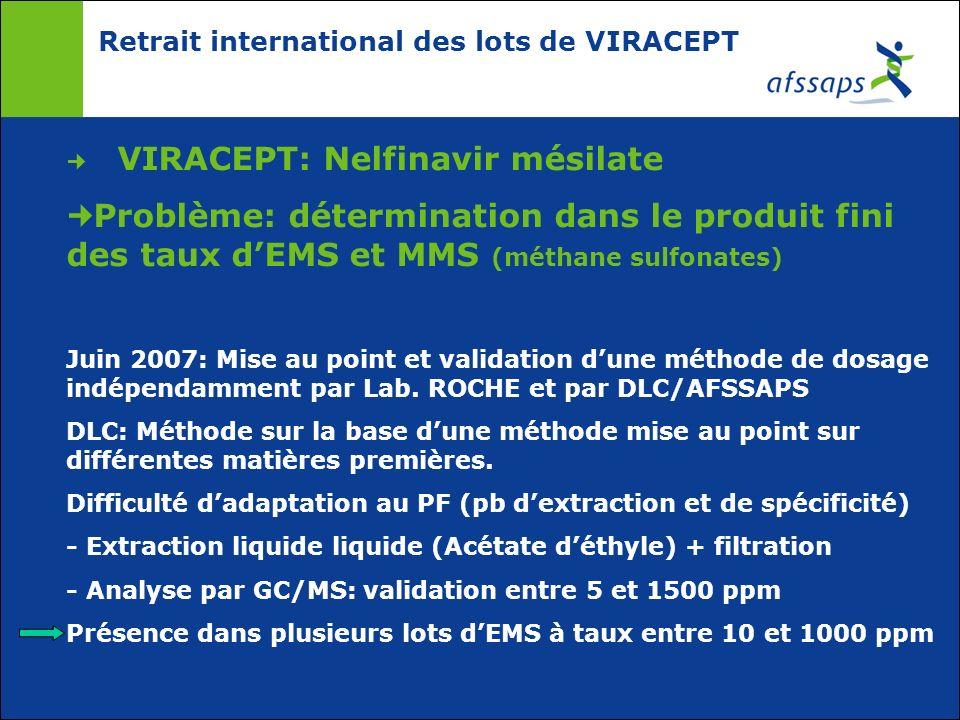 Retrait international des lots de VIRACEPT VIRACEPT: Nelfinavir mésilate Problème: détermination dans le produit fini des taux dEMS et MMS (méthane su