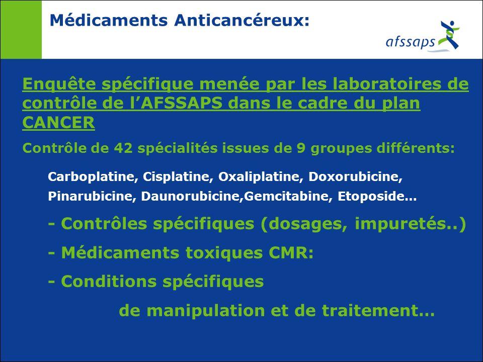 Médicaments Anticancéreux: Enquête spécifique menée par les laboratoires de contrôle de lAFSSAPS dans le cadre du plan CANCER Contrôle de 42 spécialit