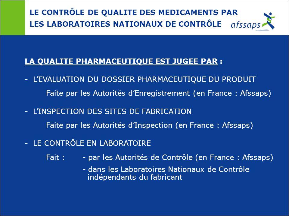LE CONTRÔLE DE QUALITE DES MEDICAMENTS PAR LES LABORATOIRES NATIONAUX DE CONTRÔLE LA QUALITE PHARMACEUTIQUE EST JUGEE PAR : - LEVALUATION DU DOSSIER P