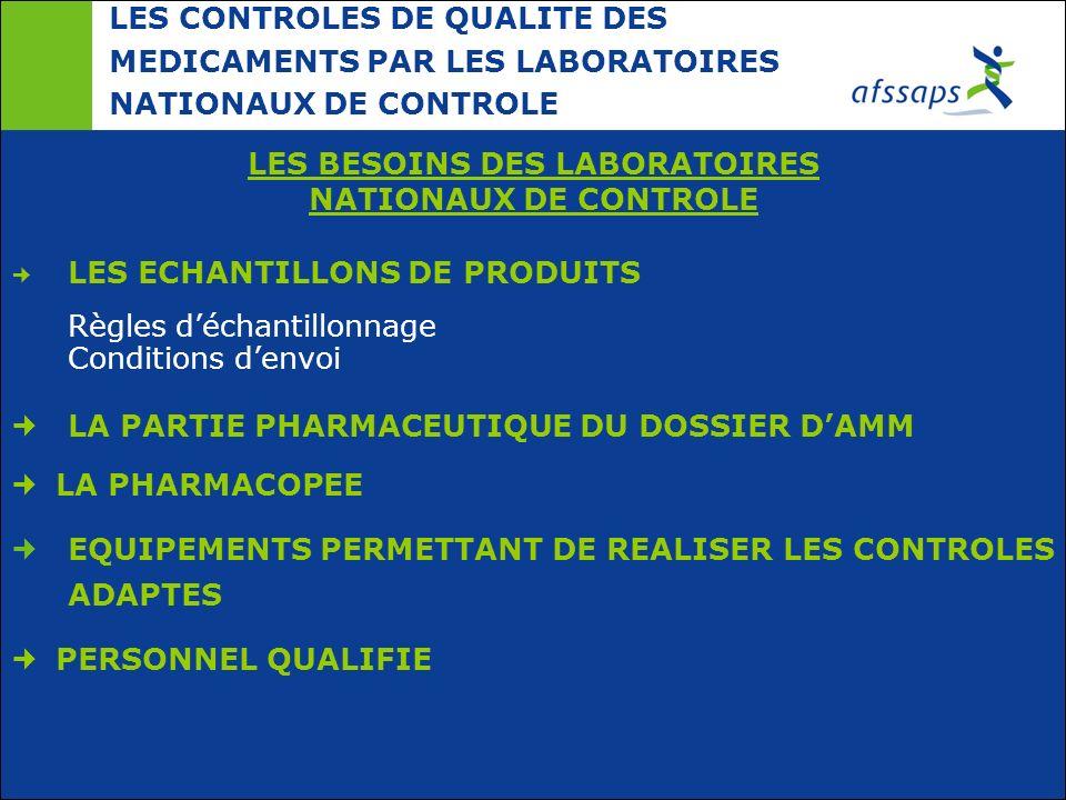 LES CONTROLES DE QUALITE DES MEDICAMENTS PAR LES LABORATOIRES NATIONAUX DE CONTROLE LES BESOINS DES LABORATOIRES NATIONAUX DE CONTROLE LES ECHANTILLON
