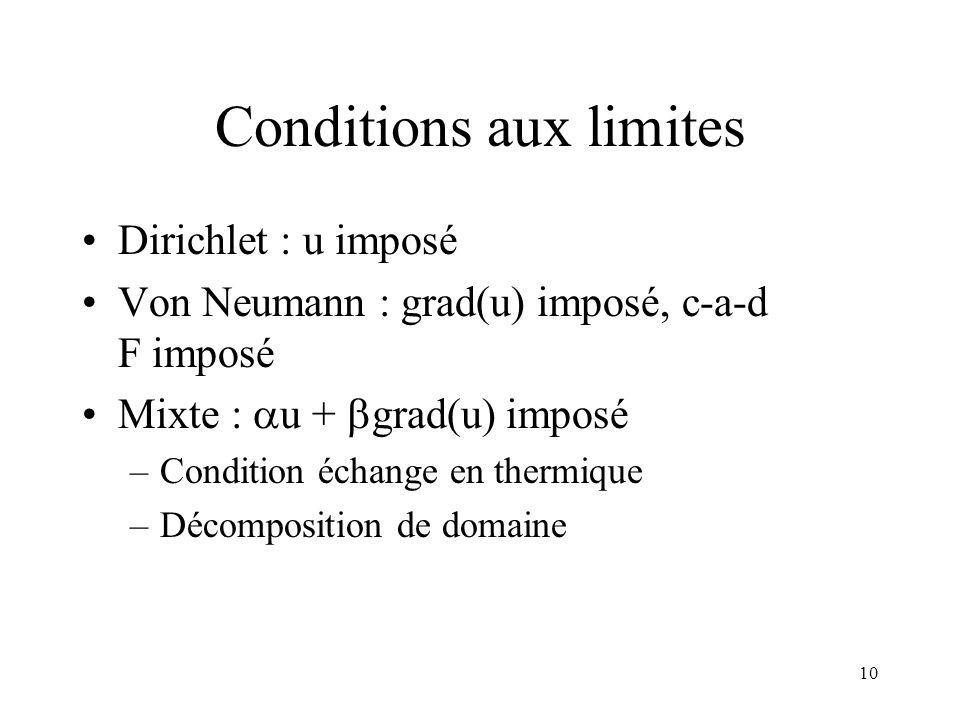 10 Conditions aux limites Dirichlet : u imposé Von Neumann : grad(u) imposé, c-a-d F imposé Mixte : u + grad(u) imposé –Condition échange en thermique