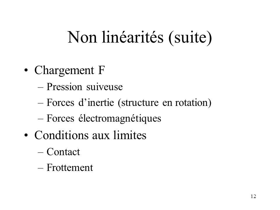 12 Non linéarités (suite) Chargement F –Pression suiveuse –Forces dinertie (structure en rotation) –Forces électromagnétiques Conditions aux limites –