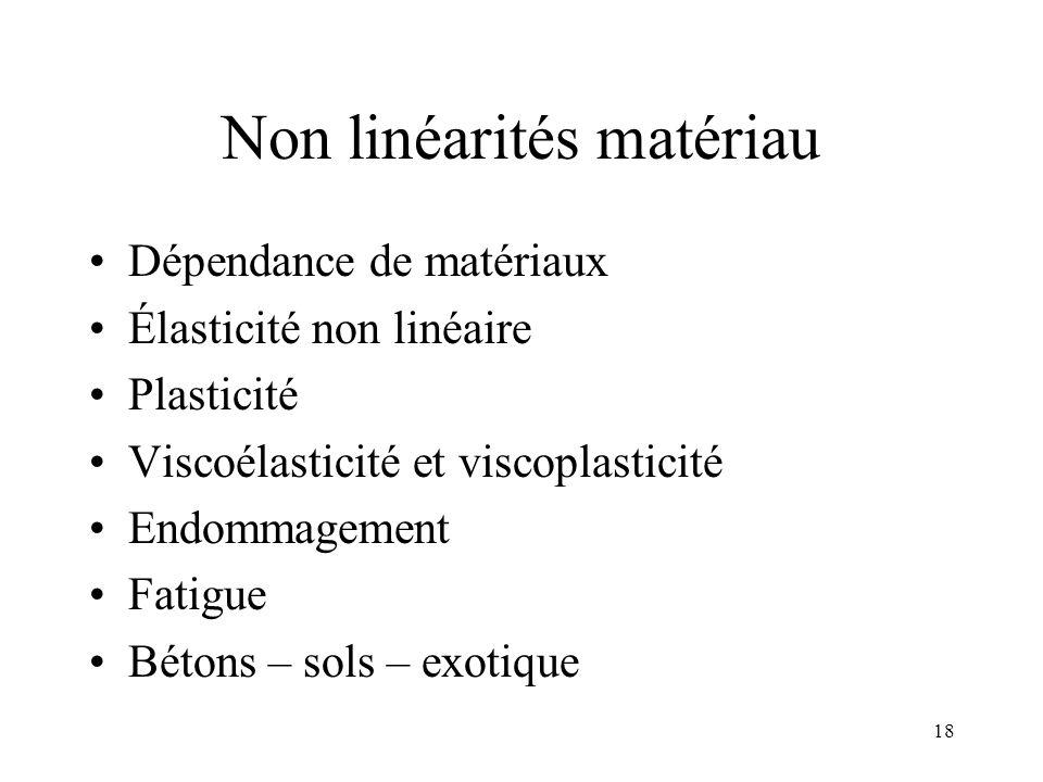 18 Non linéarités matériau Dépendance de matériaux Élasticité non linéaire Plasticité Viscoélasticité et viscoplasticité Endommagement Fatigue Bétons