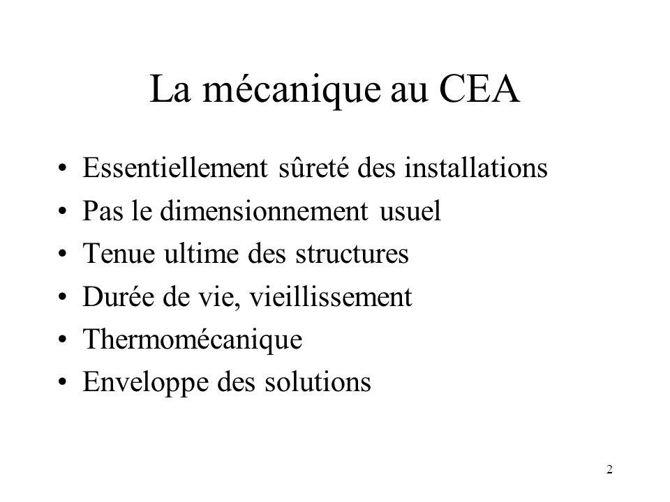 2 La mécanique au CEA Essentiellement sûreté des installations Pas le dimensionnement usuel Tenue ultime des structures Durée de vie, vieillissement T