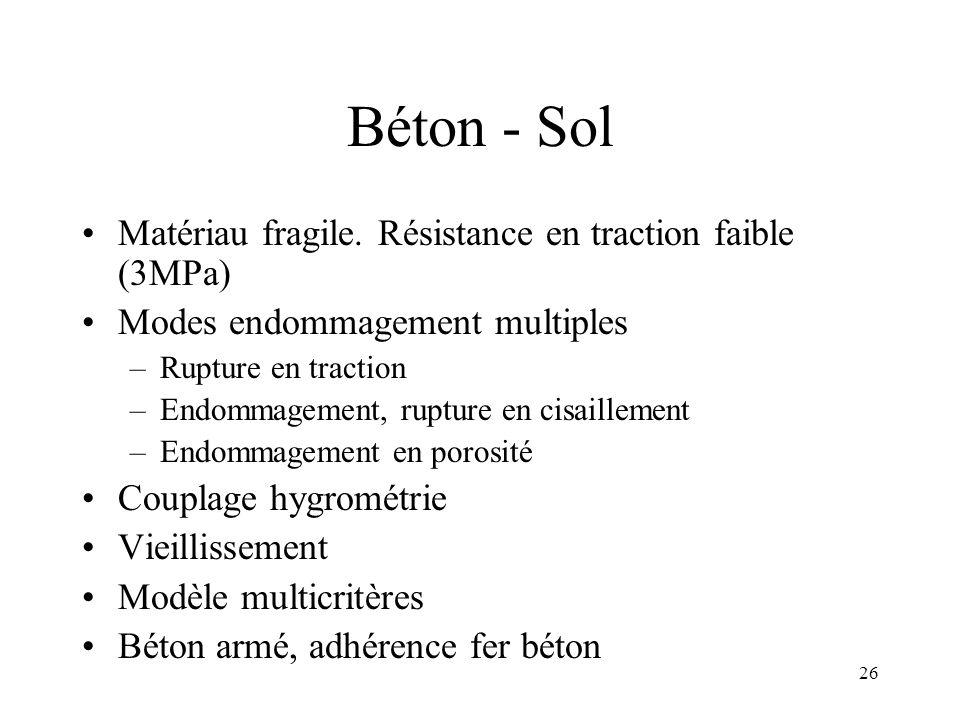 26 Béton - Sol Matériau fragile. Résistance en traction faible (3MPa) Modes endommagement multiples –Rupture en traction –Endommagement, rupture en ci