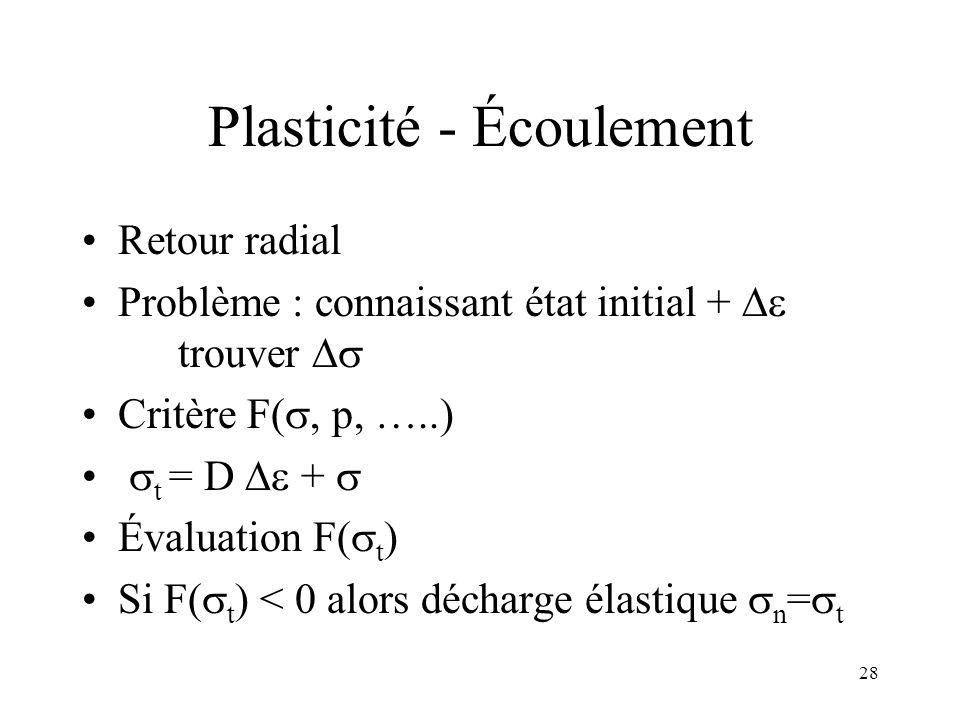 28 Plasticité - Écoulement Retour radial Problème : connaissant état initial + trouver Critère F(, p, …..) t = D + Évaluation F( t ) Si F( t ) < 0 alo
