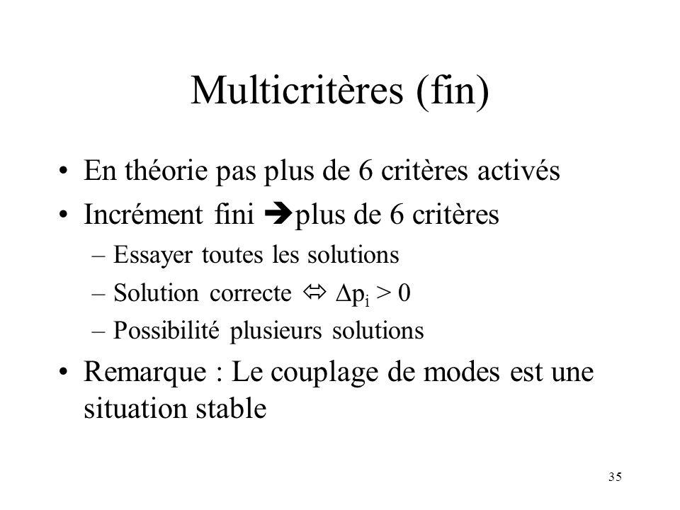 35 Multicritères (fin) En théorie pas plus de 6 critères activés Incrément fini plus de 6 critères –Essayer toutes les solutions –Solution correcte p