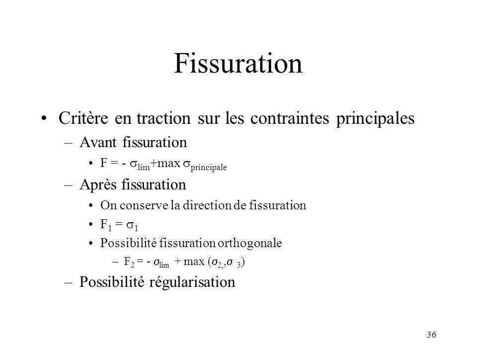 36 Fissuration Critère en traction sur les contraintes principales –Avant fissuration F = - lim +max principale –Après fissuration On conserve la dire