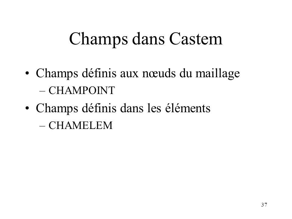 37 Champs dans Castem Champs définis aux nœuds du maillage –CHAMPOINT Champs définis dans les éléments –CHAMELEM