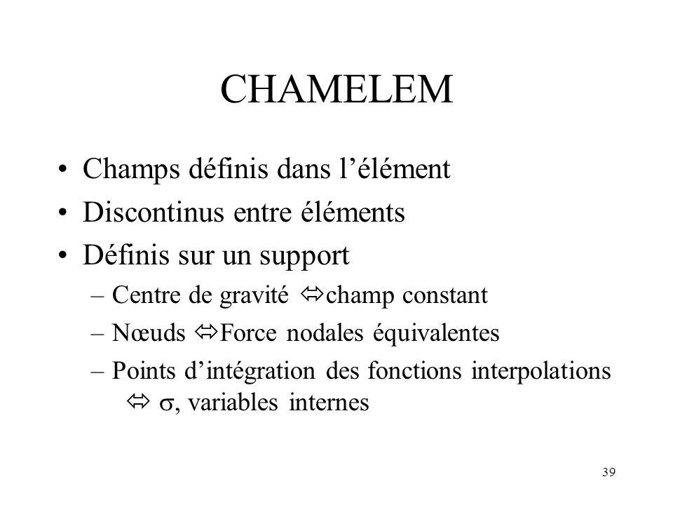 39 CHAMELEM Champs définis dans lélément Discontinus entre éléments Définis sur un support –Centre de gravité champ constant –Nœuds Force nodales équi