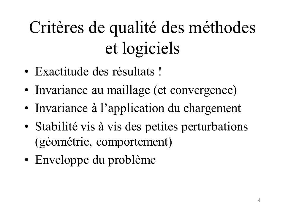 4 Critères de qualité des méthodes et logiciels Exactitude des résultats ! Invariance au maillage (et convergence) Invariance à lapplication du charge