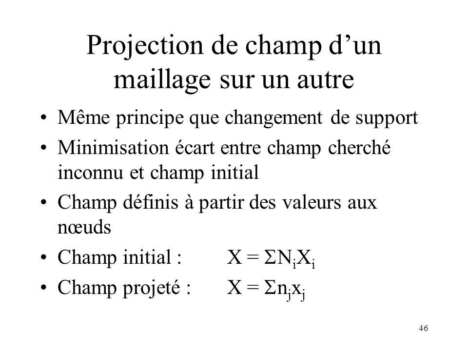 46 Projection de champ dun maillage sur un autre Même principe que changement de support Minimisation écart entre champ cherché inconnu et champ initi