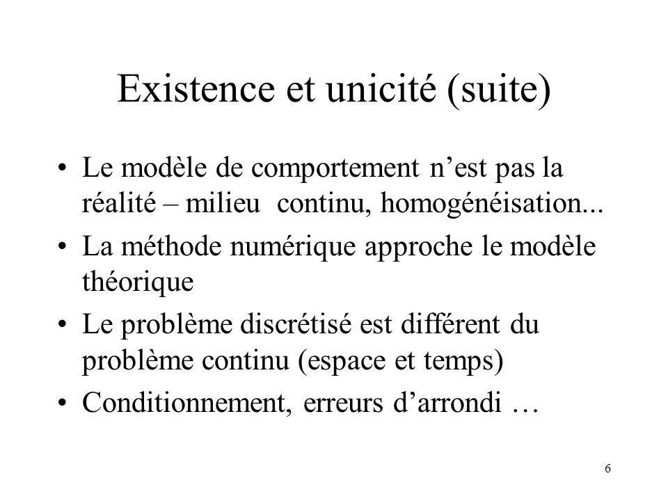 6 Existence et unicité (suite) Le modèle de comportement nest pas la réalité – milieu continu, homogénéisation... La méthode numérique approche le mod