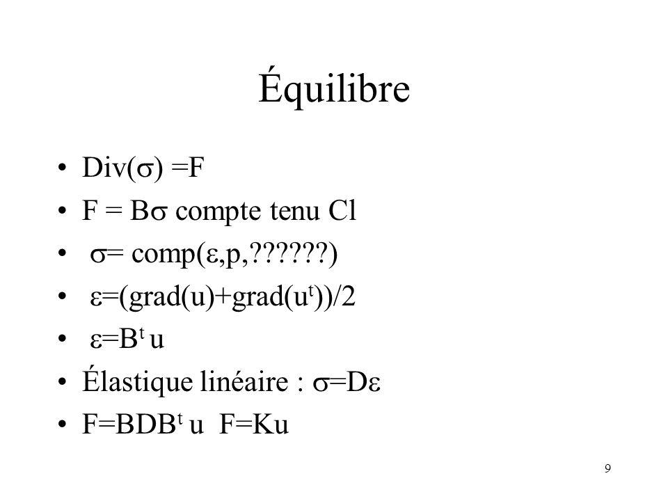 9 Équilibre Div( ) =F F = B compte tenu Cl = comp(,p,??????) =(grad(u)+grad(u t ))/2 =B t u Élastique linéaire : =D F=BDB t u F=Ku