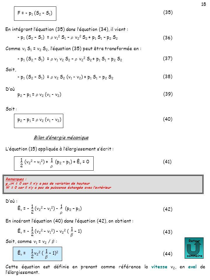 18 Retour sommaire (35) F = - p 1 (S 2 – S 1 ) En intégrant léquation (35) dans léquation (34), il vient : - p 1 (S 2 – S 1 ) = v 1 2 S 1 – v 2 2 S 2