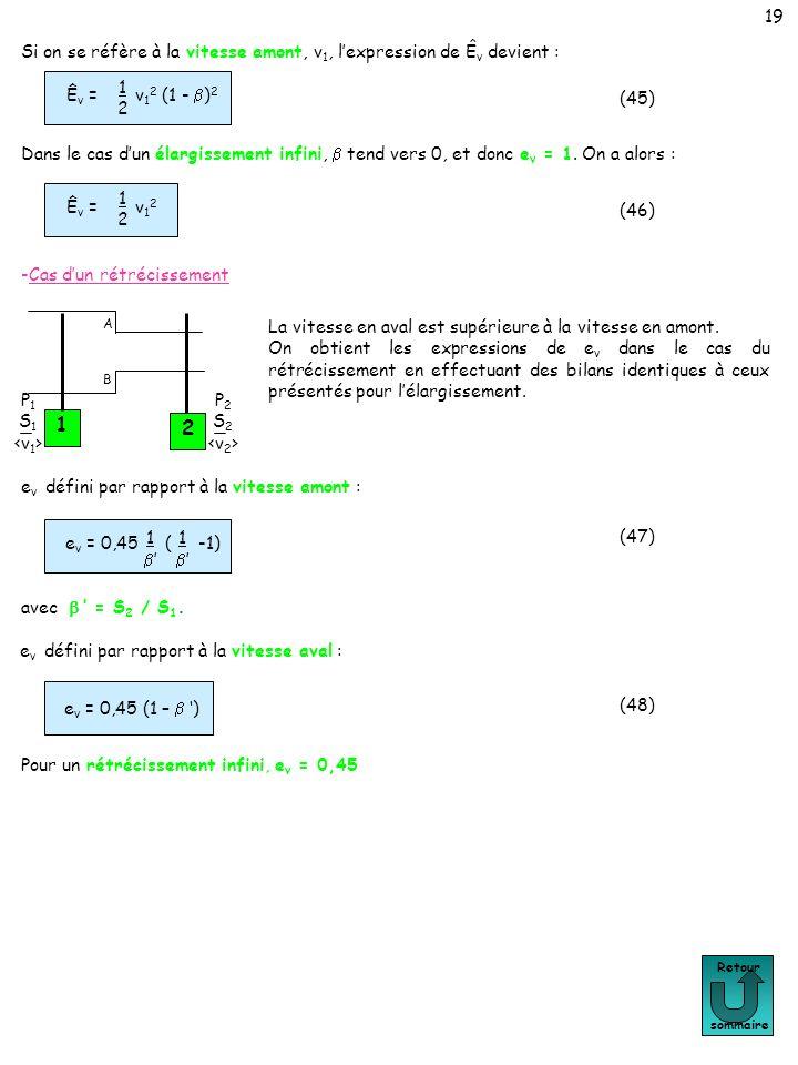 19 Retour sommaire 1 P 1 S 1 2 P 2 S 2 A B La vitesse en aval est supérieure à la vitesse en amont. On obtient les expressions de e v dans le cas du r