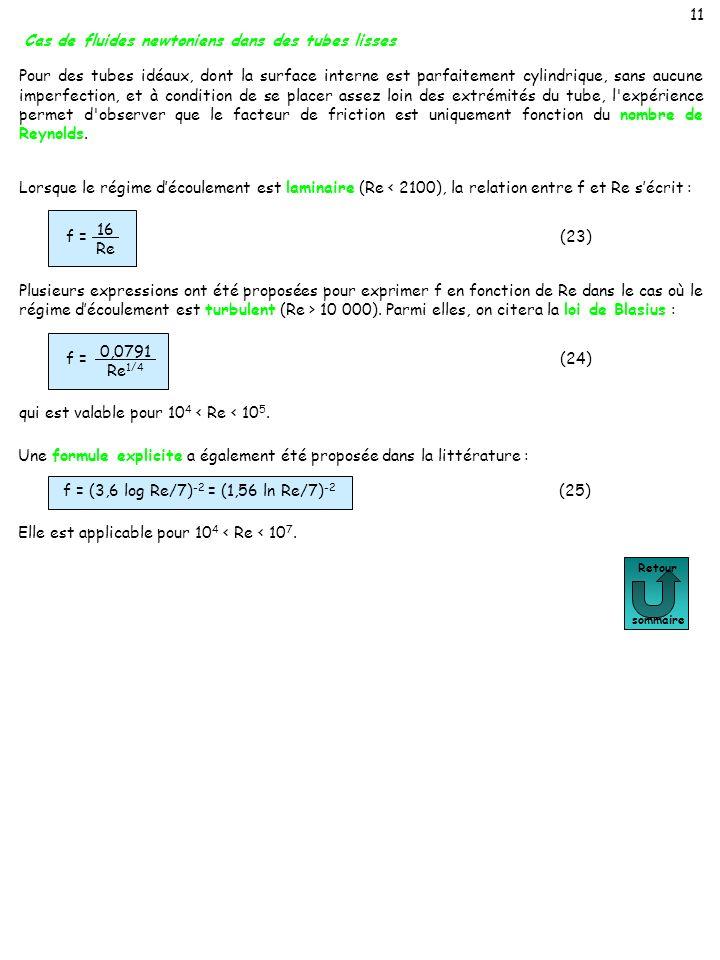 11 (23) f = 16 Re Retour sommaire Une formule explicite a également été proposée dans la littérature : Elle est applicable pour 10 4 < Re < 10 7. f =