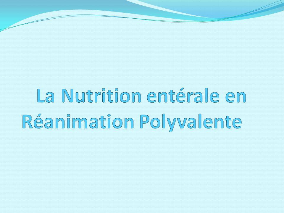 I ntroduction Nutrition = fonction vitale 1 patient sur 5 dénutri à lentrée à lhôpital 73 à 85% des patients hospitalisés dénutris = « dénutrition nosocomiale » Pilier de la prise en charge du patient en réanimation 04/10/2012 2La nutrition entérale en Réanimation Polyvalente