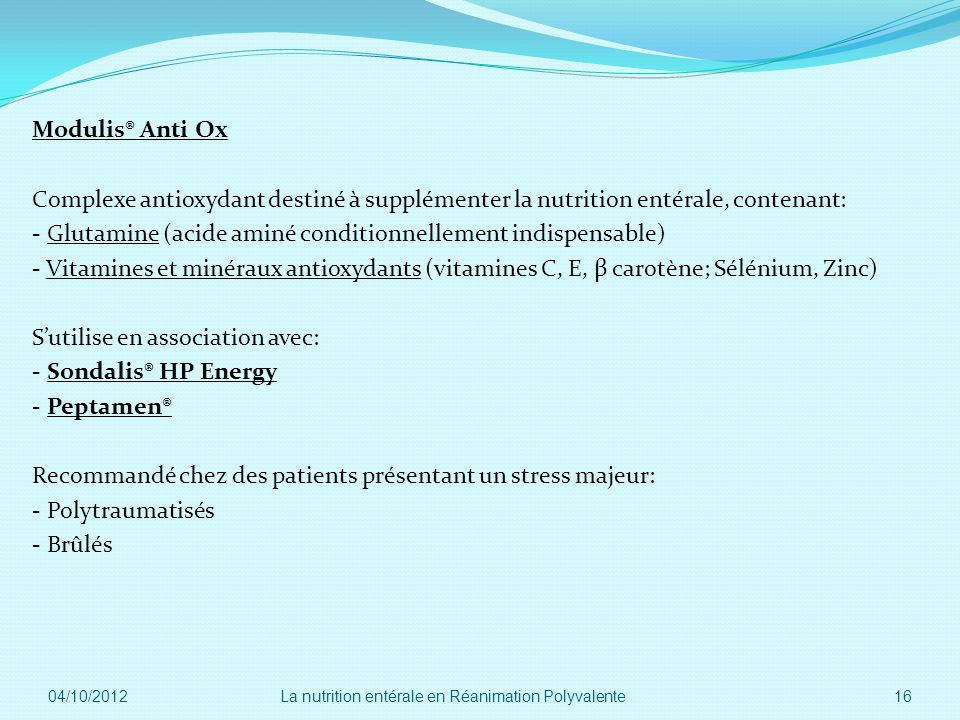 Modulis® Anti Ox Complexe antioxydant destiné à supplémenter la nutrition entérale, contenant: - Glutamine (acide aminé conditionnellement indispensab